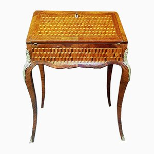 Antique French Bronze and Leather Napoleon III Cubed Marquetry Desk