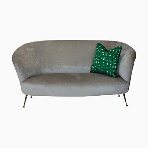 Italian Brass & Velvet Curved Sofa by Ico & Luisa Parisi, 1950s