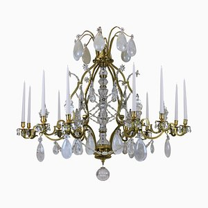 Large Antique French Gilt Bronze & Rock Crystal Candleholder Chandelier