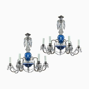 Neo-Classical Ceramic, Chrome, and Silver Chandeliers from Wedgwood, 1930s, Set of 2
