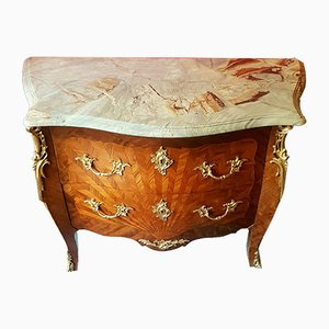 Antique French Bronze & Rosewood Curved Dresser