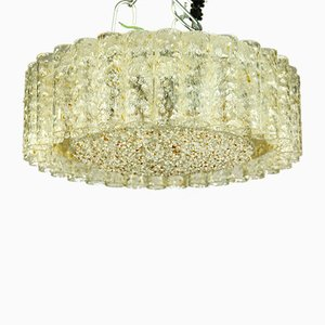 Mid-Century German Brass and Glass Tube Ceiling Lamp from Doria Leuchten