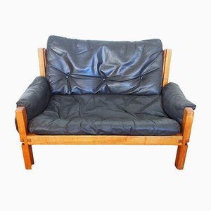 Mid-Century French Leather Model S 60 2-Seater Sofa by Pierre Chapo, 1960s