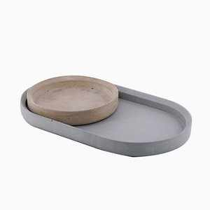 Concrete Mod. II Renzo Tray and Centrepiece by Valerio Ciampicacigli for Forma e Cemento
