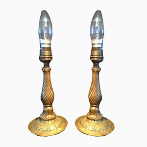 Lampade da tavolo antiche in ottone, Francia, set di 2