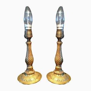 Lámparas de mesa francesas antiguas de latón. Juego de 2