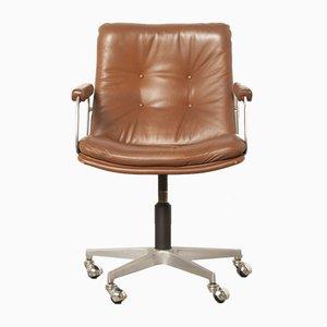 Silla de oficina vintage de cuero marrón de Geoffrey Harcourt para Artifort, años 60