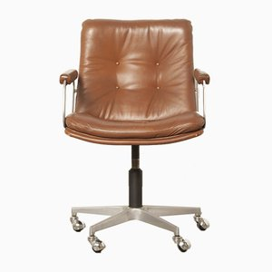 Vintage Brown Leather Office Chair by Geoffrey Harcourt for Artifort, 1960s
