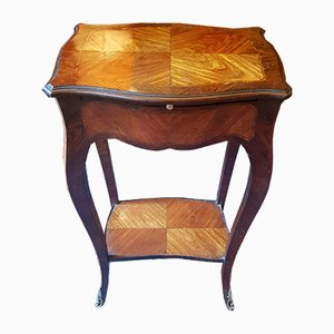 Antique French Bronze, Leather, & Rosewood Side Table
