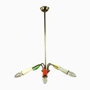 Lámpara de araña Sputnik alemana Mid-Century de latón y plástico, años 50