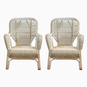 Vintage Italian Reed Lounge Chairs, 1970s, Set of 2