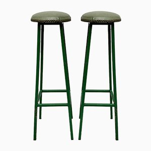 Mid-Century French Metal and Vinyl Bar Stools, 1950s, Set of 2