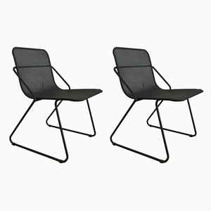 Industrial Italian Tubular Steel Dining Chairs, 1980s, Set of 2