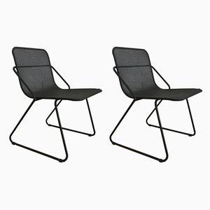 Industrielle italienische Esszimmerstühle mit Stahlrohrgestell, 1980er, 2er Set