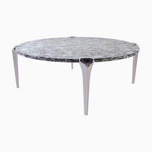 Tavolino da caffè grande rotondo in granito, anni '70