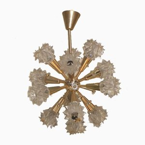 French Golden Brass & Plastic Baroque-Style Chandelier, 1970s