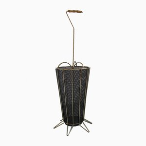 Mid-Century Brass and Steel Umbrella Stand, 1950s