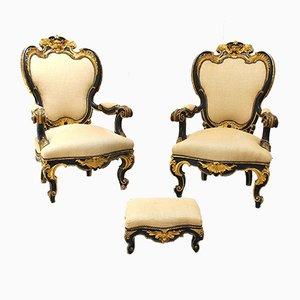 Antike italienische Sessel mit Holzgestell, 2er Set