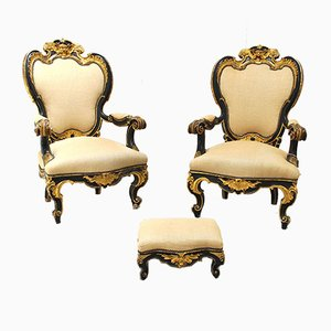Antique Italian Wooden Lounge Chairs, Set of 2