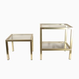 Regency French Brass and Glass Side Tables Set by Pierre Vandel, 1970s