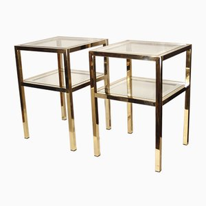 Tables d'Appoint Regency en Laiton et Verre par Pierre Vandel, France, 1970s, Set de 2