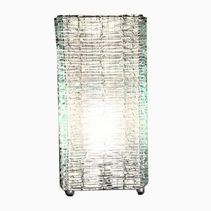 Italian Frosted Glass and Wire Mesh Tower Table Lamp, 1960s