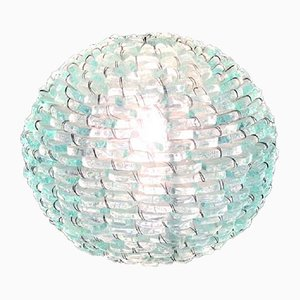 Italian Frosted Glass and Wire Mesh Tao Lamp, 1960s