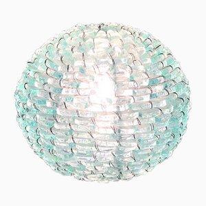 Lampada Tao in vetro satinato e rete, Italia, anni '60