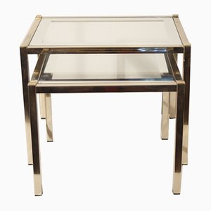 Regency French Brass and Glass Nesting Tables by Pierre Vandel, 1970s