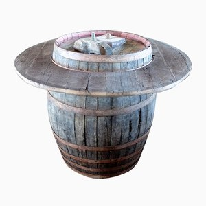 Table de Bar Tonneau Antique en Chêne, Italie