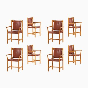 Leather and Pine Armchairs, 1960s, Set of 8