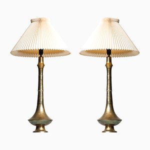 Mid-Century Danish Brass Table Lamps, 1950s, Set of 2