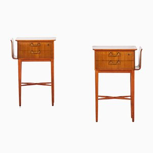 Beech Bedside Tables by Carl-Axel Acking for Bodafors, 1940s, Set of 2