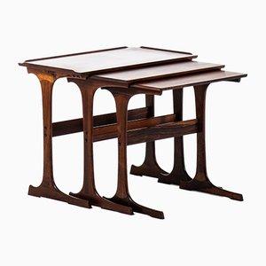 Tavolini ad incastro in palissandro di Johannes Andersen per CFC Silkeborg, Danimarca, anni '60