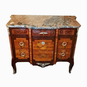 19th-Century Rosewood Sideboard with Marble Top, Floral Marquetry, & Arched Feet