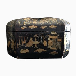 Antique Chinese Black Lacquer Double Tea Caddy