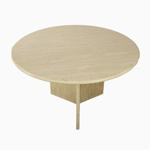 Vintage Italian Round Travertine Dining Table, 1970s