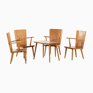 Pine Armchairs by Göran Malmvall for Svensk Fur, 1940s, Set of 4