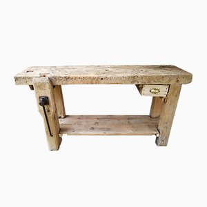 Vintage Industrial Beech Workbench, 1930s