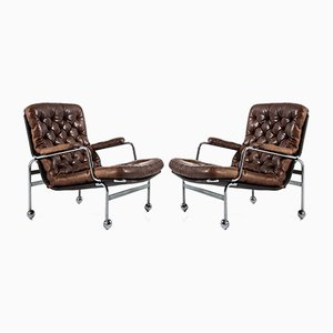 Leather and Steel Karin Lounge Chairs by Bruno Mathsson for Dux, 1960s, Set of 2