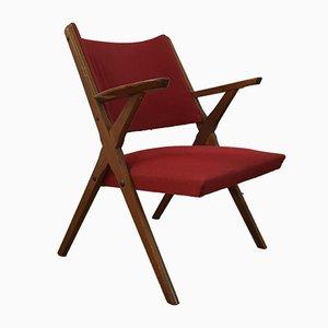 Italienischer Mid-Century Sessel mit Gestell aus Buche, 1960er