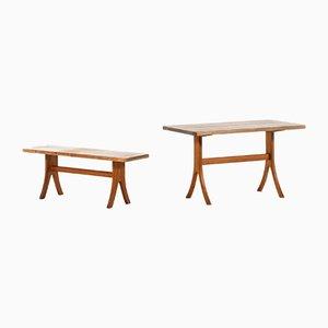 Juego de mesa de comedor y banco de pino de Carl Malmsten, años 40