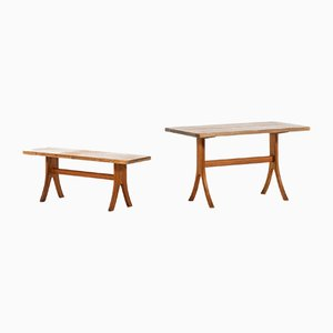 Pine Dining Table & Bench Set from Carl Malmsten, 1940s