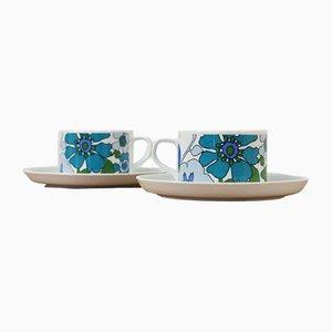 Taza y platillo Oslo de porcelana de Liselotte Kantner para Melitta, años 70. Juego de 2
