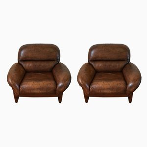 Vintage Italian Cow Leather Lounge Chairs, 1970s, Set of 2