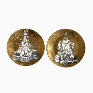 Mid-Century Panoplie Gilt Plates from Piero Fornasetti, Set of 2