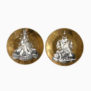 Vergoldete Mid-Century Panoplie Teller von Piero Fornasetti, 2er Set