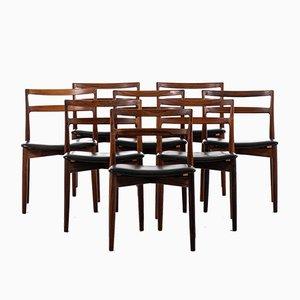 Dänische Esszimmerstühle mit Sitz aus Leder & Gestell aus Palisander von Harry Østergaard für Randers Møbelfabrik, 1960er, 8er Set