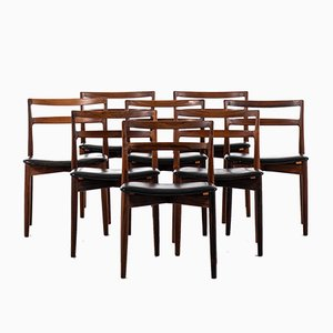 Danish Leather and Rosewood Dining Chairs by Harry Østergaard for Randers Møbelfabrik, 1960s, Set of 8