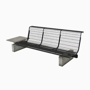 Vintage Italian Steel Waiting Room Bench by Centro Progetti Tecno for Tecno, 1980s